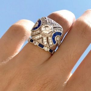 Sterling Silver Blue and White AAA CZ's Ring Set